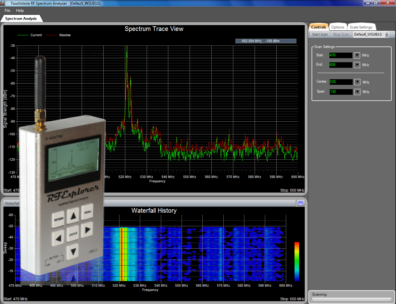 RF Explorer With Touchstone Software